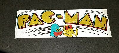 Pac Man white marquee REFLECTIVE sticker. 3 x 9. (Buy 3 stickers, GET ONE FREE!)