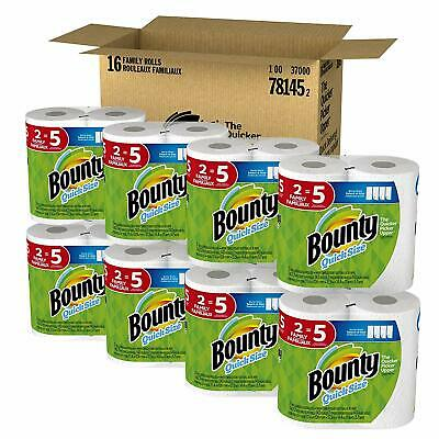 Bounty Quick-Size Paper Towels, White, Family Rolls, 16 Count (Equal to 40 Reg.)
