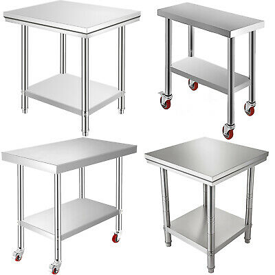 Kitchen Work Table Commercial Catering Bench Food Prep 4 Caster Worktop Storage