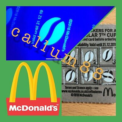 900 X McDonalds Coffee Bean Loyalty Stickers 31/12/19 expiry