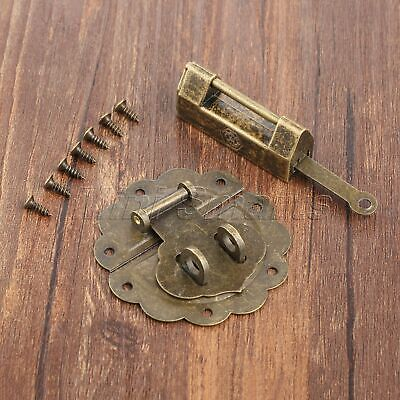 Retro Chinese Bronze Padlock & Dollhouse Chest Jewelry Box Hasp Catch Latch Set