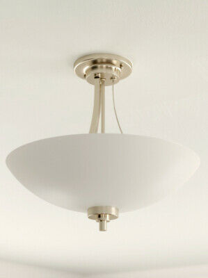 Welles 3 Light Flush Ceiling Light Frosted Glass Antique Brass NEW (Q)