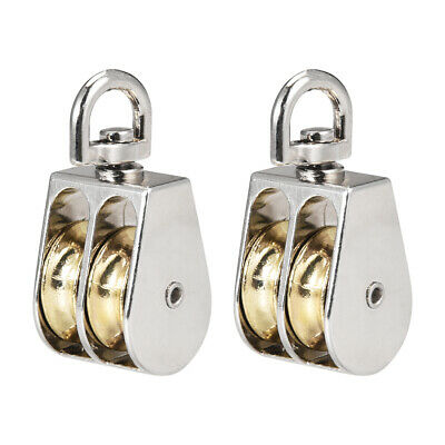"""1"""" Lifting Crane Swivel Hook  Pulley Block Hanging Wire Towing Double Wheel 2pcs"""