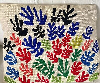 """GOODLUXE MATISSE CUTOUTS  NEEDLEPOINT CUSHION in PURE WOOL 17"""" x 14""""HANDMADE!"""