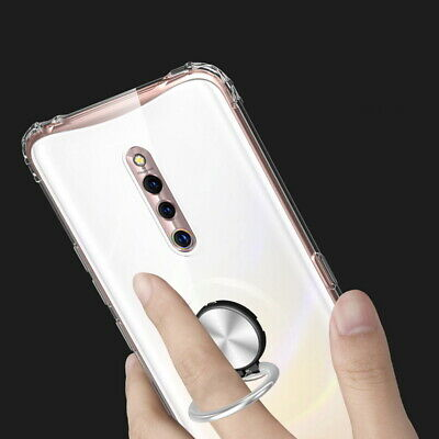 For OnePlus 7 Pro 7 Clear Shockproof Finger Ring Holder Soft Rubber Case Cover