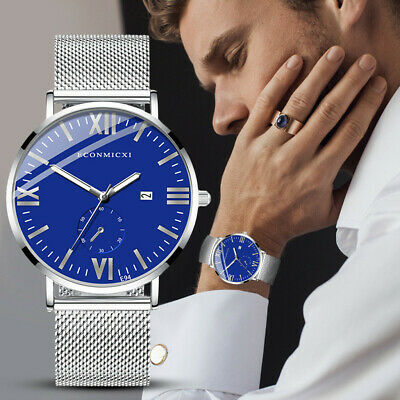 Fashion Stainless Steel Man's Analog Quartz Business Dial Cool Wrist Watchs