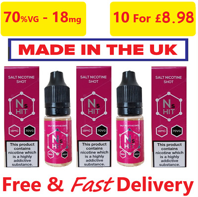Nic Salt Shot 70%VG 18mg/ml Nicotine Salt Shots - 10ml - TPD - UK Made Salt Hit