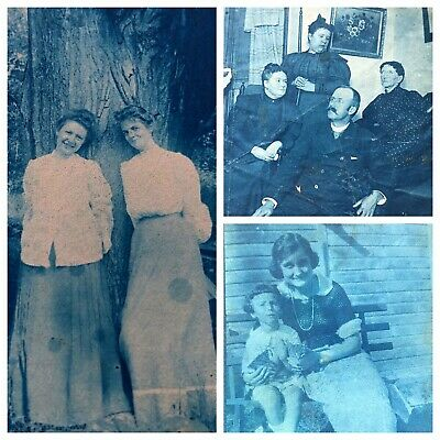 THREE Antique Cyanotype Photographs Pregnant Victorian Sisters, Indoor Family