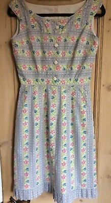 Vintage Handmade Cotton Dress 1950s Small Floral