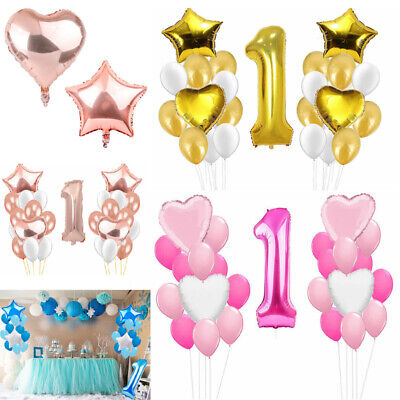 Large NO.1 Birthday Balloon Banner Bunting Self Inflating Foil Balloons Party UK