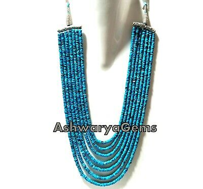 """15-21""""Inch Necklace Natural Turquoise Tyre Heishi 5-5.5mm Smooth Gemstone Beads"""