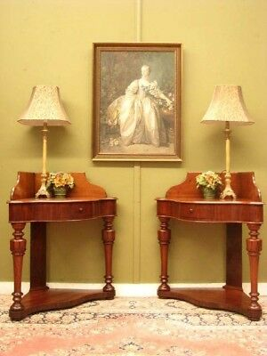 RARE PAIR ANTIQUE 1 DRAWER MAHOGANY CORNER DISPLAY STANDS / SIDE TABLES   c1860s