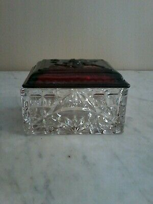 Vintage Fire King Ruby Red & Clear Glass Trinket /Cigarette Box