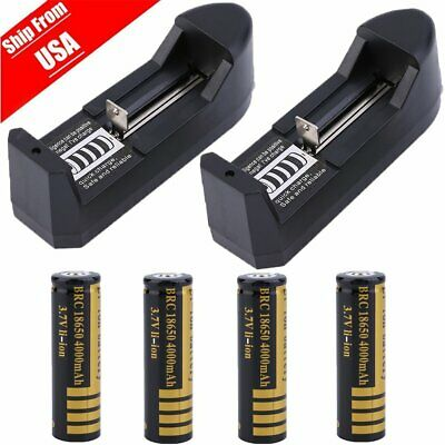 4pack UltraFire 4000mAh 18650 Rechargeable 3.7V Battery Cell + Smart Charger MA