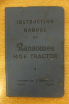 ransomes MG 6 crawler tractor original instruction manual book vintage antique