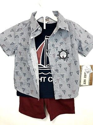 NWT Little Rebels 3 Piece Boys Outfit Size 2T Yatch Club Red Shorts Blue top BTS