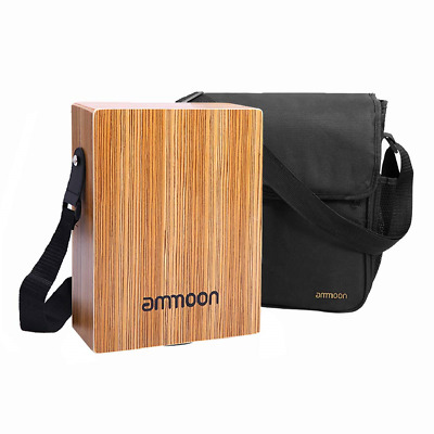 ammoon Portable Traveling Cajon Box Drum Flat Hand Drum Wooded Percussion with