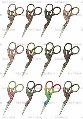 "Glittery 3.5"" Multi Purpose Bird/ Stork Beauty Embroidery Scissors 12 Designs"