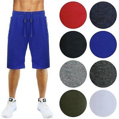 Mens Sweat Shorts With Zipper Pockets Slim-Fit Running Lounge Gym Workout S-2XL