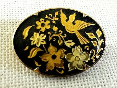 Vintage damascene flowers and bird small oval pin with trombone clasp