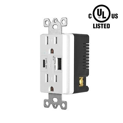 110V Dual USB Port Type C Wall Socket Charger AC Power Receptacle Outlet Panel