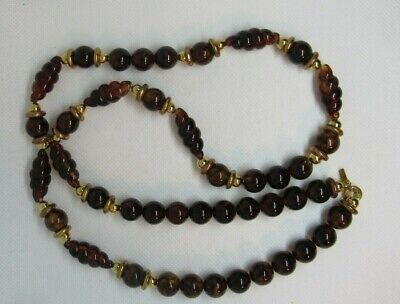 Dotty Smith Beaded Gold Amber colored Swirl beads signed Necklace Vintage #31.50