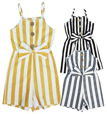 Girl's Kids Bow Stripe Short Playsuit Jumpsuit Cotton Romper Age 4-14 Years