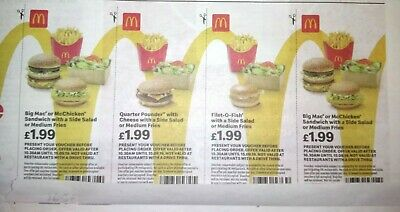 Mcdonalds Vouchers Valid  15/09/2019....28 Vouchers