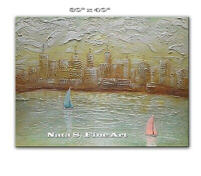 Original Skyline Painting, Abstract Cityscape Painting, Large Artwork by Nata S