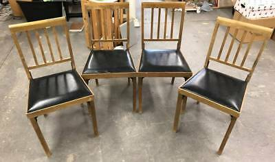 Lot 4 Vintage Folding Wood Legomatic Leg o matic Chairs Airstream RV PICK UP