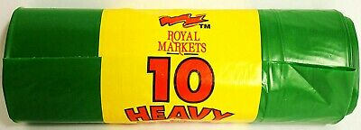 Royal Market 10 Heavy Duty Green Garden Refuse Sacks Strong Bin Liner Waste Bag