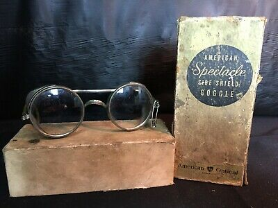 Vintage American Optical AO Safety Glasses Side Mesh Safety Goggles Steampunk