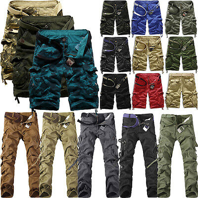 Men Multi Pockets Cargo Pants Shorts Outdoor Hiking Work Army Combat Trousers