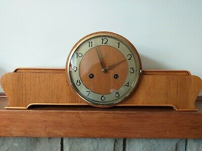 Vintage Walnut Antique Art Deco Junghans 8 Day 5 Gong Striking Mantel Clock