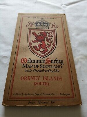 VINTAGE O/S   MAP OF SCOTLAND No 7 ORKNEY ISLANDS  (SOUTH)