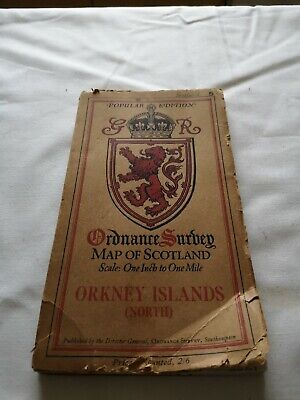 VINTAGE O/S   MAP OF SCOTLAND No 5 ORKNEY ISLANDS  (NORTH)