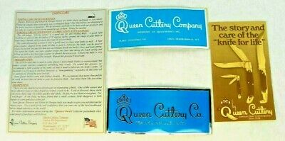 NEW OLD STOCK 4 pc VINTAGE QUEEN CUTLERY STICKERS & BROCHURES POCKET KNIFE QC