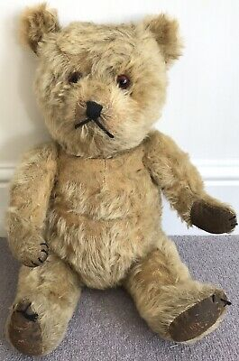 Antique Large Chiltern Flat Face Hugmee Teddy Bear C.1940s Golden Mohair 19.5""