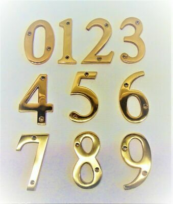 Large Solid Brass Door Number 3 x 1/4 Inch (77 x 5mm) Thick House Home Front ...