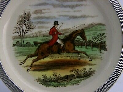 ENGLISH SOLID STERLING SILVER AND SPODE CHINA FOX HUNTING DISH c1950's