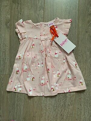 New Ted Baker Baby Girls Rabbit Print Dress Size 0-3 Months Current Season