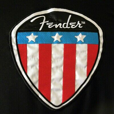 Fender Guitar Pick Embroidered Sew On Patch Large Genuine Fender Brand