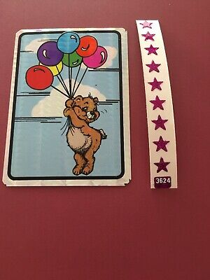 Vtg 80's Prism Sticker Vending Machine Teddy Bear Balloons Clouds Glitter Stars