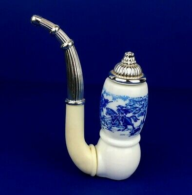 Avon Novelty Decanter Dutch Pipe White and Blue