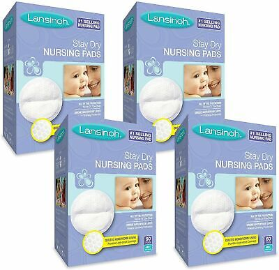 Lansinoh Nursing Pads 4 Packs of 60 (240 count) Stay Dry Disposable Breast Pads