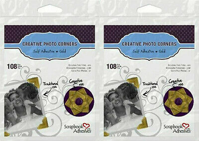 "Scrapbook Adhesives by 3L Gold Photo Corners 2 packs of 108 each  1/2""   1625"
