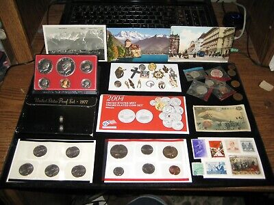 JUNK DRAWER Coin Lot IKE Dollar TRINKET LOT Old Postcard Proof Set Golden Dollar
