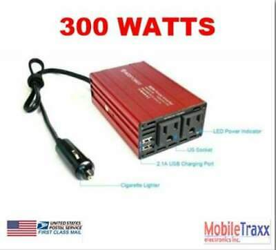 300W Power Inverter 12VDC to 2 USB Ports and 2 110V AC Power Sockets/Fan