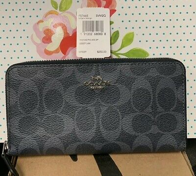 new arrival c4544 60110 NWT COACH Denim Signature Zip Accordion Wallet with Silver ...
