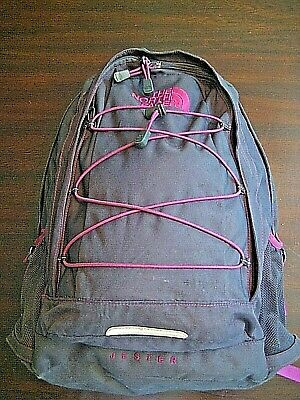 The North Face JESTER Backpack HIking- Gym- School-  Black w/Magenta Trim
